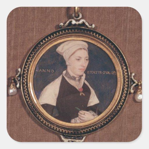Retrato miniatura de Jane pequeño Pegatinas Cuadradas