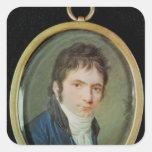 Retrato miniatura de Ludwig van Beethoven, 1802 Calcomanía Cuadradas Personalizada