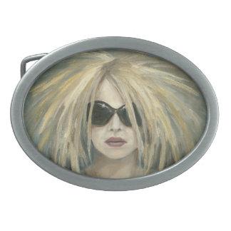 Retrato moderno punky de la hembra de la pintura hebillas de cinturon ovales