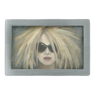 Retrato moderno punky de la hembra de la pintura hebillas de cinturón rectangulares