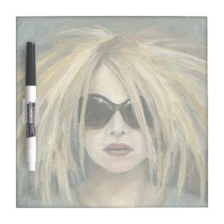 Retrato moderno punky de la hembra de la pintura pizarras blancas