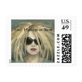 Retrato moderno punky de la hembra de la pintura sello