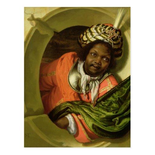 Retrato Moor que celebra una bandera en una Postal