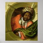Retrato Moor que celebra una bandera en una ventan Impresiones