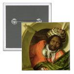 Retrato Moor que celebra una bandera en una ventan Pin