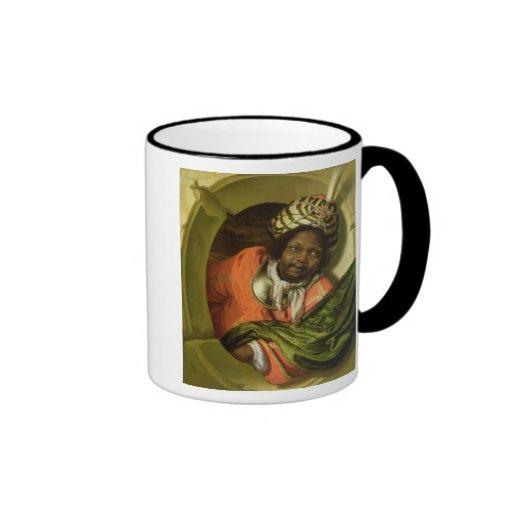 Retrato Moor que celebra una bandera en una ventan Tazas De Café