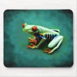 Retrato Mousepad de la rana arbórea Tapetes De Ratones