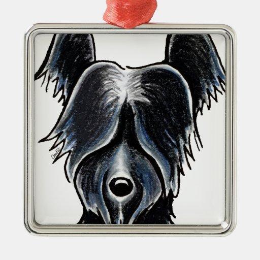 Retrato negro de Skye Terrier Adorno Cuadrado Plateado