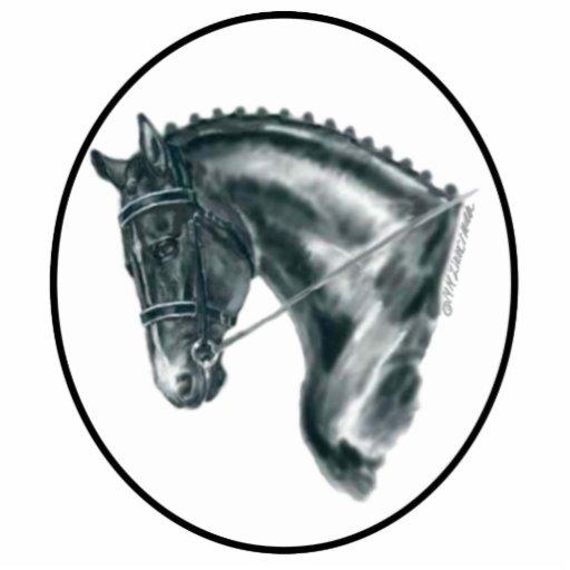 Retrato negro del caballo del Dressage Escultura Fotográfica