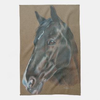 Retrato negro del caballo toalla
