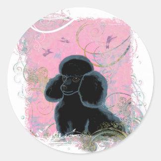 Retrato negro del caniche con los pegatinas de los pegatinas redondas