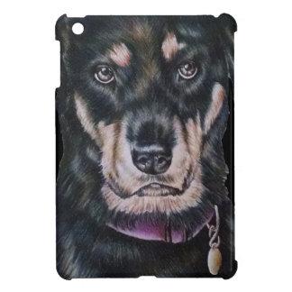 Retrato negro del dibujo del perro de Rottweiler