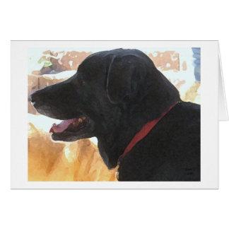 Retrato negro del laboratorio - amante del perro d tarjetón