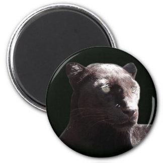 Retrato negro del leopardo imán redondo 5 cm