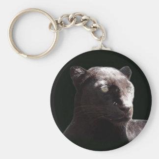 Retrato negro del leopardo llavero redondo tipo pin