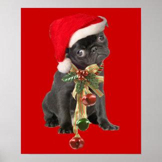Retrato negro del navidad del perrito del barro am poster