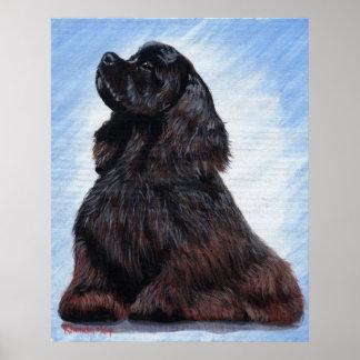 Retrato negro del perro de cocker spaniel posters