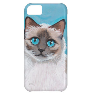 Retrato observado azul del gato de Ragdoll Funda Para iPhone 5C