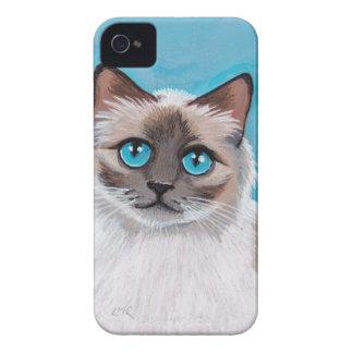 Retrato observado azul del gato de Ragdoll iPhone 4 Coberturas