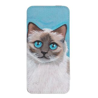 Retrato observado azul del gato de Ragdoll Bolsillo Para iPhone