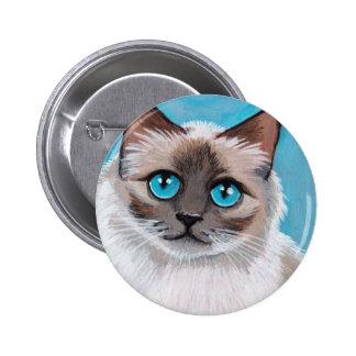 Retrato observado azul del gato de Ragdoll Pin Redondo De 2 Pulgadas