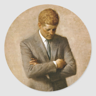 Retrato oficial de John F. Kennedy de Aaron Pegatinas Redondas