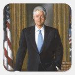 Retrato oficial de la Casa Blanca de Bill Clinton Pegatinas Cuadradas