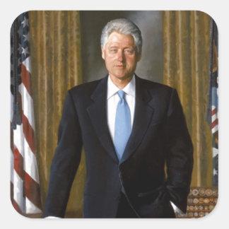 Retrato oficial de la Casa Blanca de Bill Clinton Pegatina Cuadrada
