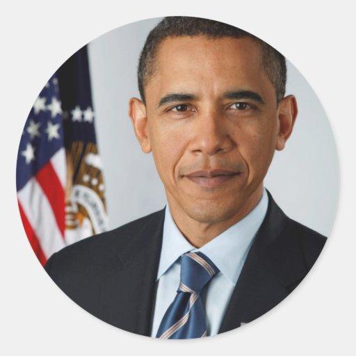 Retrato oficial de presidente Barack Obama Pegatinas Redondas