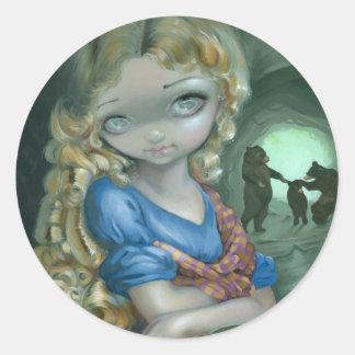 """Retrato pegatinas de Goldilocks"" Pegatina Redonda"