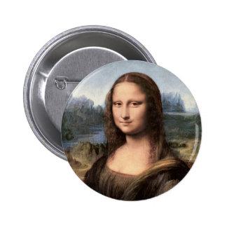 Retrato/pintura de Mona Lisa Pin Redondo De 2 Pulgadas