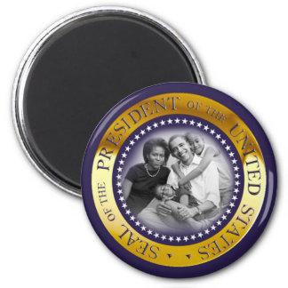 Retrato presidencial del sello de Obama Imanes Para Frigoríficos