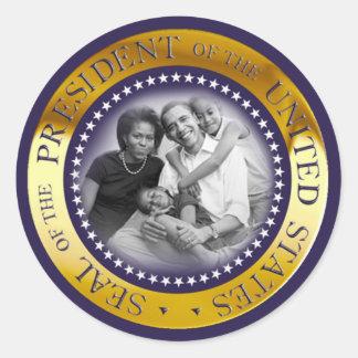 Retrato presidencial del sello de Obama Pegatina Redonda
