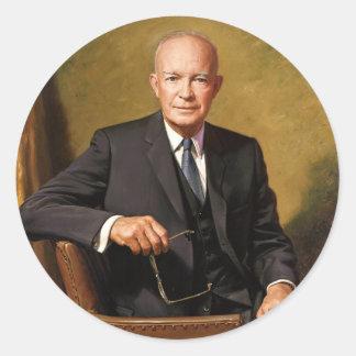 Retrato presidencial oficial de Dwight D Pegatina Redonda