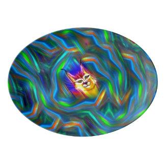 Retrato psicodélico del lince del flujo del color badeja de porcelana