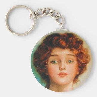 Retrato retro de la belleza de los años 30 de las  llaveros personalizados