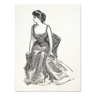 Retrato retro de la mujer de Edwardian del chica Arte Fotográfico