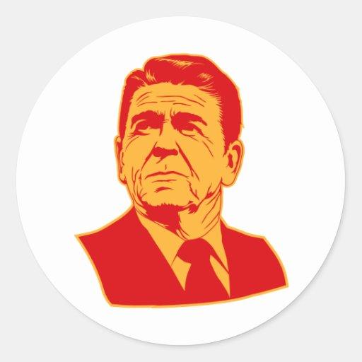 Retrato retro de Ronald Reagan los an o 80 Pegatina Redonda