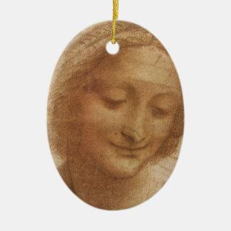 Retrato Santa Ana de Leonardo da Vinci Adorno Navideño Ovalado De Cerámica