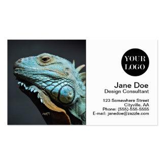Retrato serio de la iguana tarjetas de visita