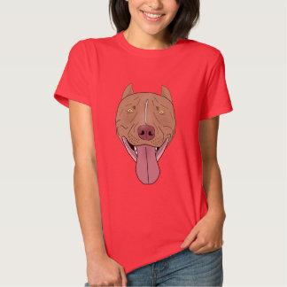 Retrato sonriente del pitbull - línea arte camisas