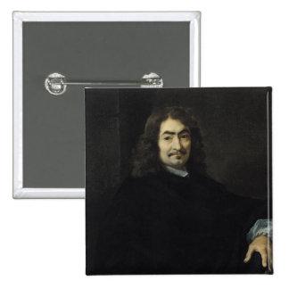 Retrato, supuesto para ser Rene Descartes Pin Cuadrado