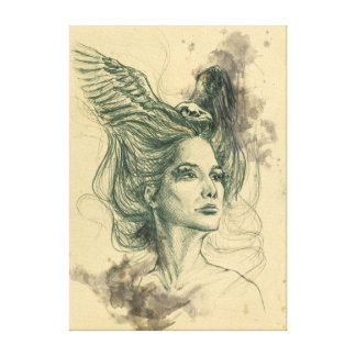 Retrato surrealista de la mujer con el cráneo y impresion de lienzo