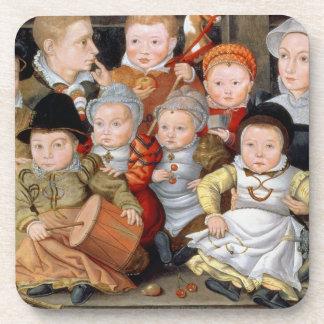 Retrato T33337 de una madre con su childre ocho Posavasos De Bebidas