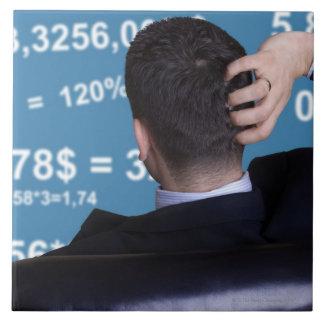 Retrato trasero de un hombre de negocios confundid azulejo cuadrado grande