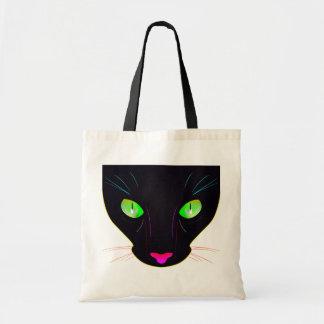Retrato verde fluorescente de los ojos de gato bolsas