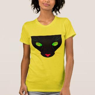 Retrato verde fluorescente de los ojos de gato remera