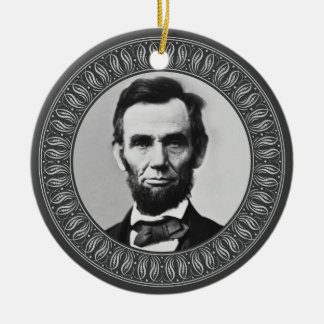 Retrato y cita de Abraham Lincoln - de doble cara Adorno Navideño Redondo De Cerámica