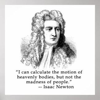 Retrato y cita de sir Isaac Newton Póster