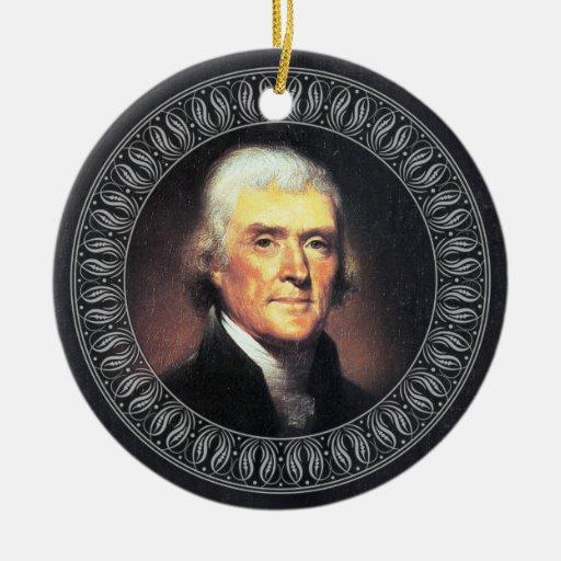 Retrato y cita de Thomas Jefferson - de doble cara Adornos De Navidad